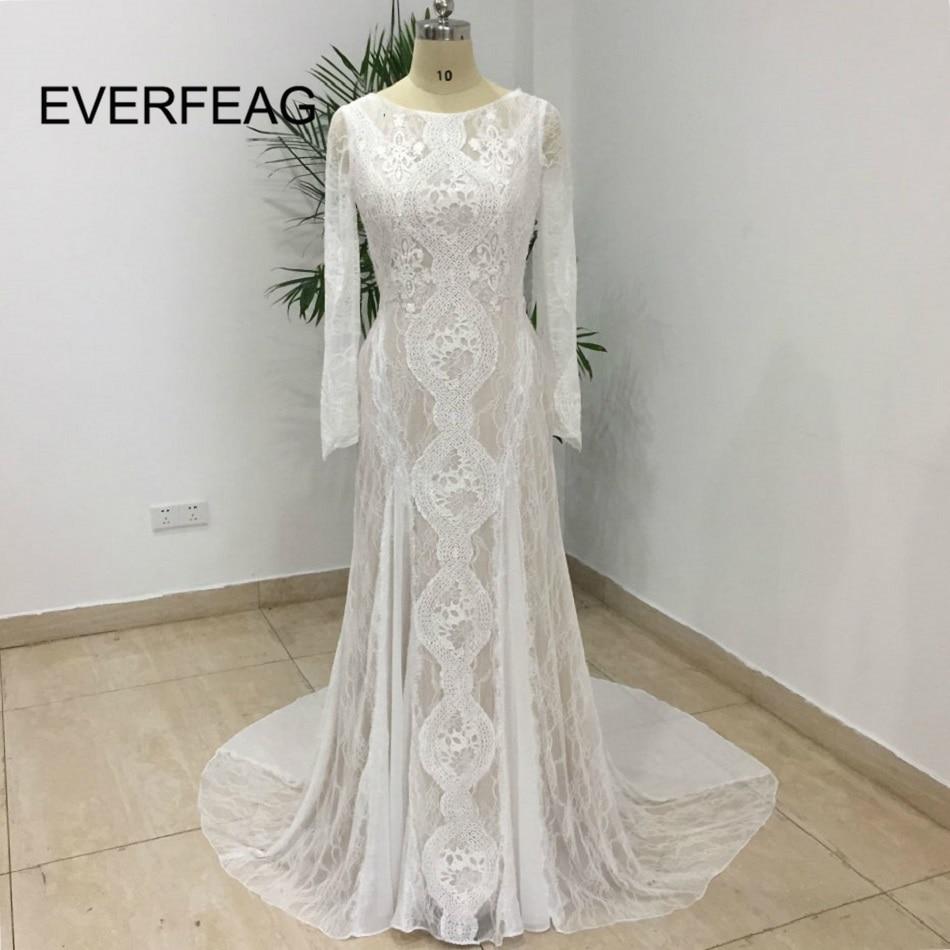 Real Photo Lace Beach Boho Wedding Dresses Long Sleeve Open Back Garden Bohemian Wedding Gowns 2020 Robe De Mariee