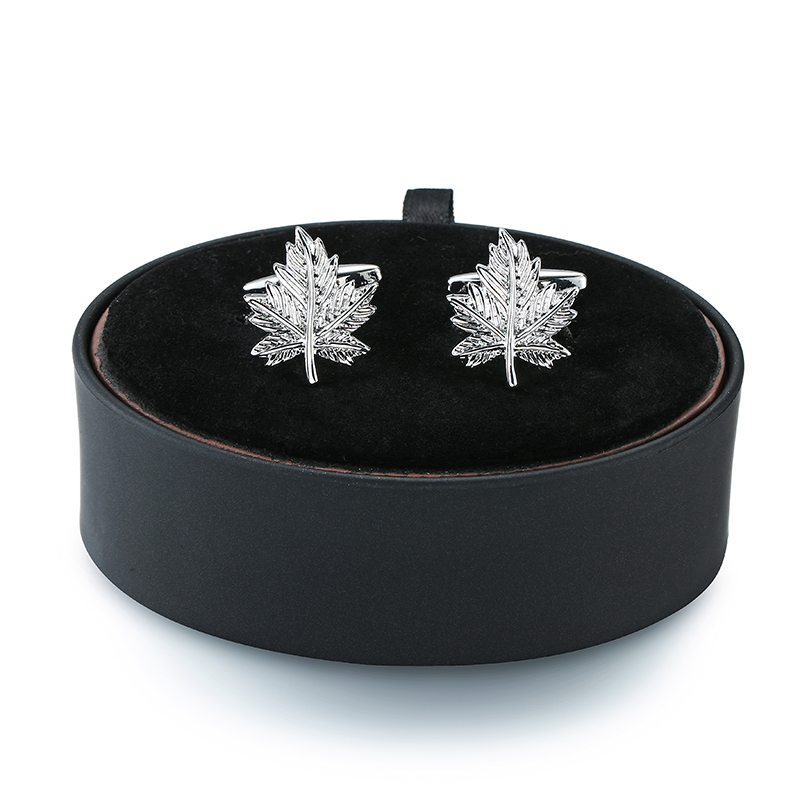 DY New Mens French Cufflinks Black Leather Box Set The Fashion Silver Maple Leaf Cufflinks Gift Set FREE SHIPPING