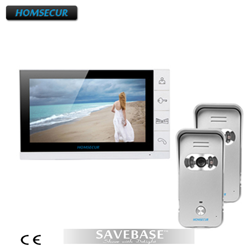HOMSECUR Wired Door Phone Intercom Entry System 2Silver Cameras 700TVL 1X9 Color Monitor