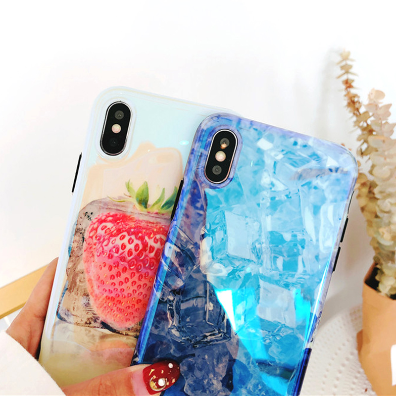 BROTOLA Luxury Fashion Glossy Blue Light Ice Fruit Phone Case For iphone X 7 6 6S 8 Plus Case Soft TPU Pattern Lovely Back Cover