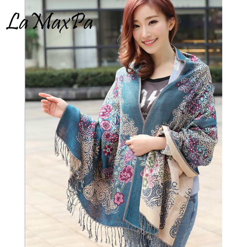 LaMaxPa 2018 New Fashion Winter Scarf Women Print Tassel Shawl Printed Cashmere Scarf For Female Scarves Free Shipping Echarpe