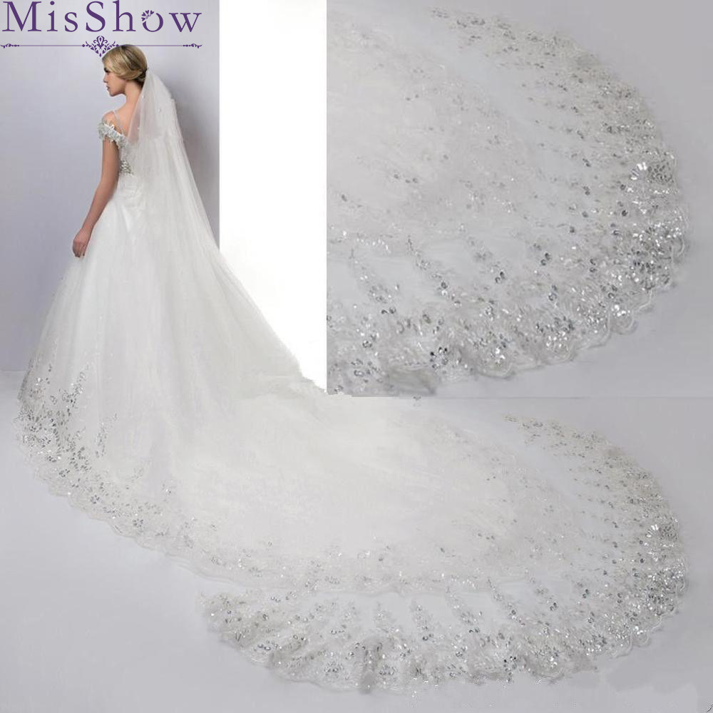 Cathedral Bridal-Veils Wedding-Accessories Lace-Edge Tulle Long Bling 4-Meter Ivory/white