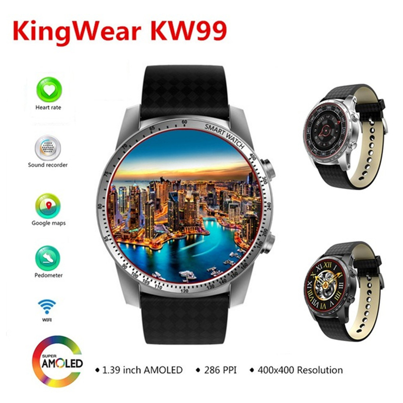 KingWear KW99 3G Smartwatch Phone Android 5.1 1.39 Inch MTK6580 Quad Core 8GB ROM Heart Rate Monitor GPS Pedometer Smartwatch