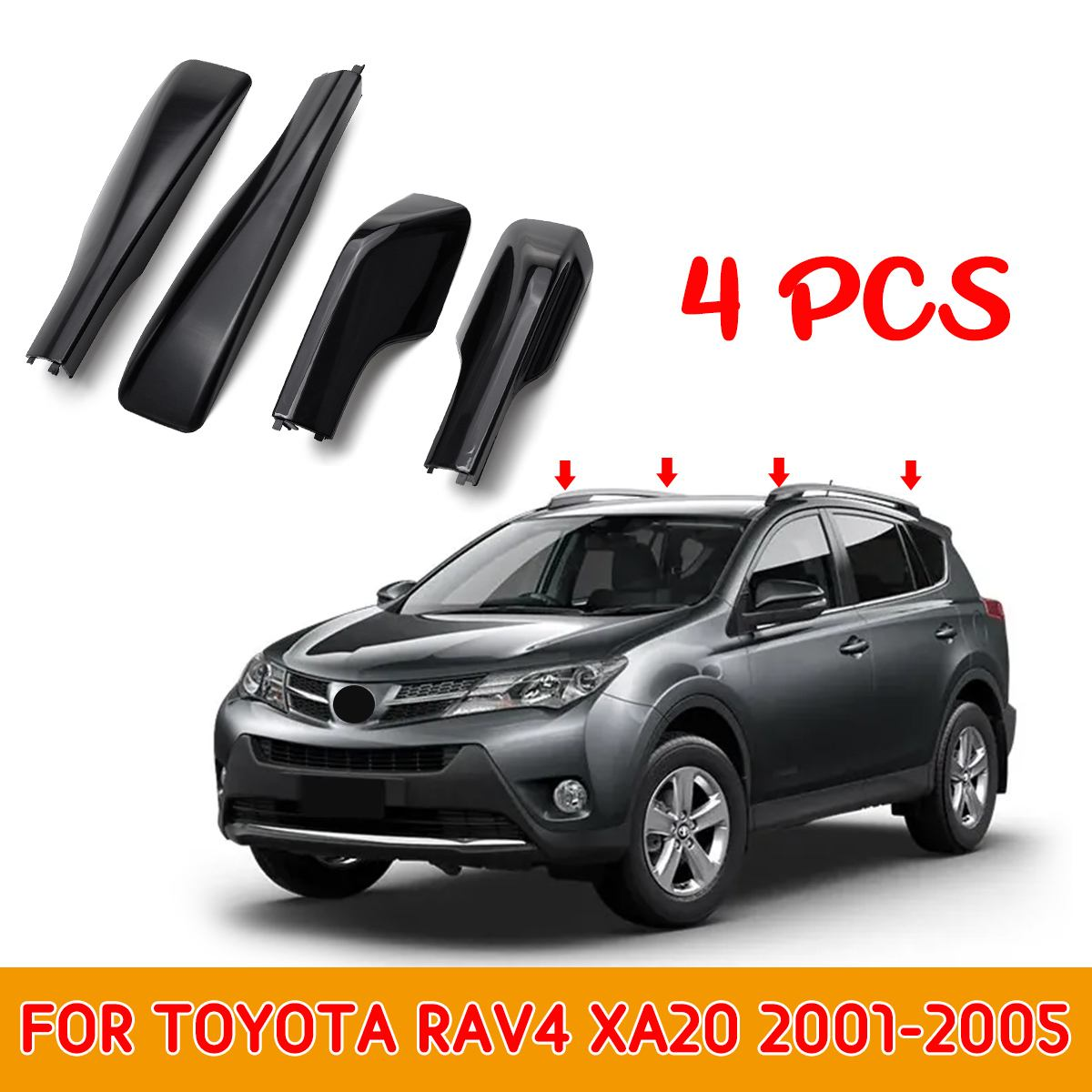 ABS Replacement Black Roof Rack Cover Rail End Protective Cover Shell For Toyota RAV4 XA20 2001-2005