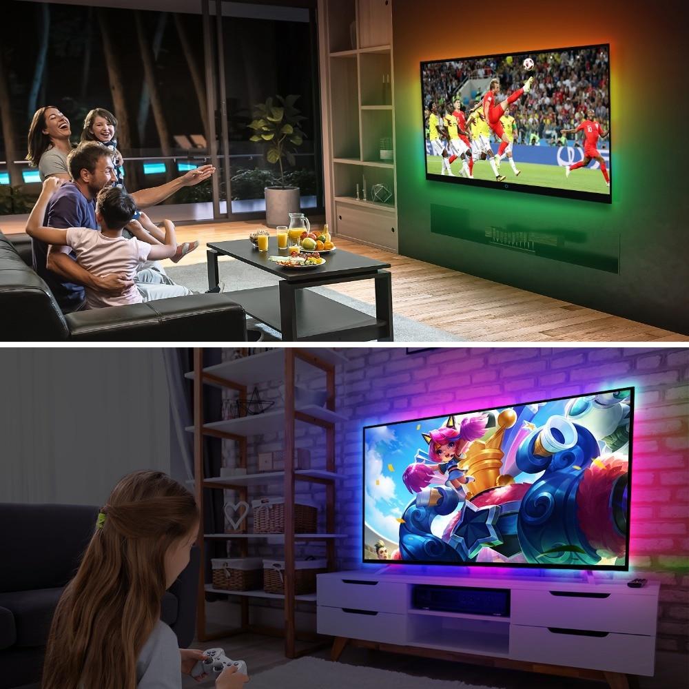 Image 5 - 1/2/3/4/5m Ambilight TV PC Backlight Dream Screen HDTV Computer Monitor USB LED Strip Addressable WS2812B LED Strip Full Set-in LED Strips from Lights & Lighting