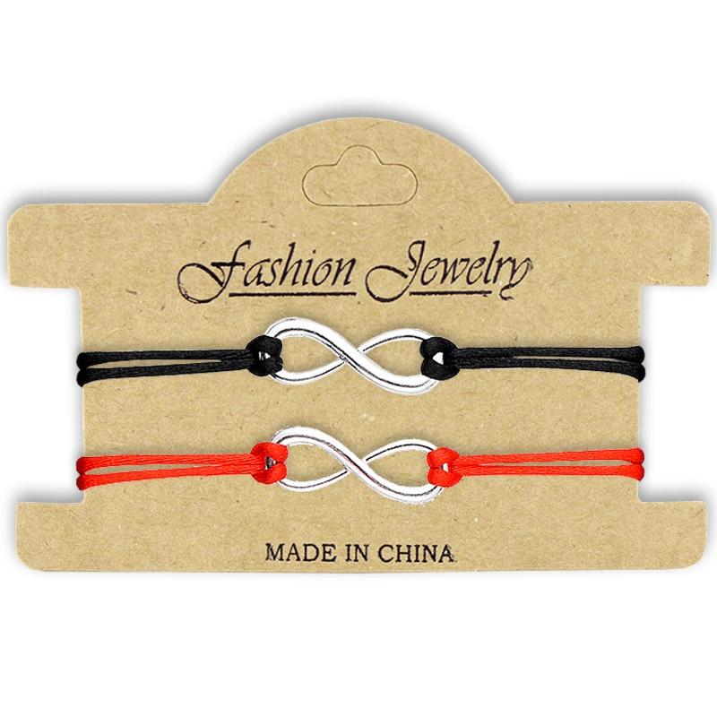 SWEBLE NEW 2Pcs/Set Together Forever Love Infinity Bracelet For Lovers Red String Couple Bracelets Jewelry Gift Adjustable