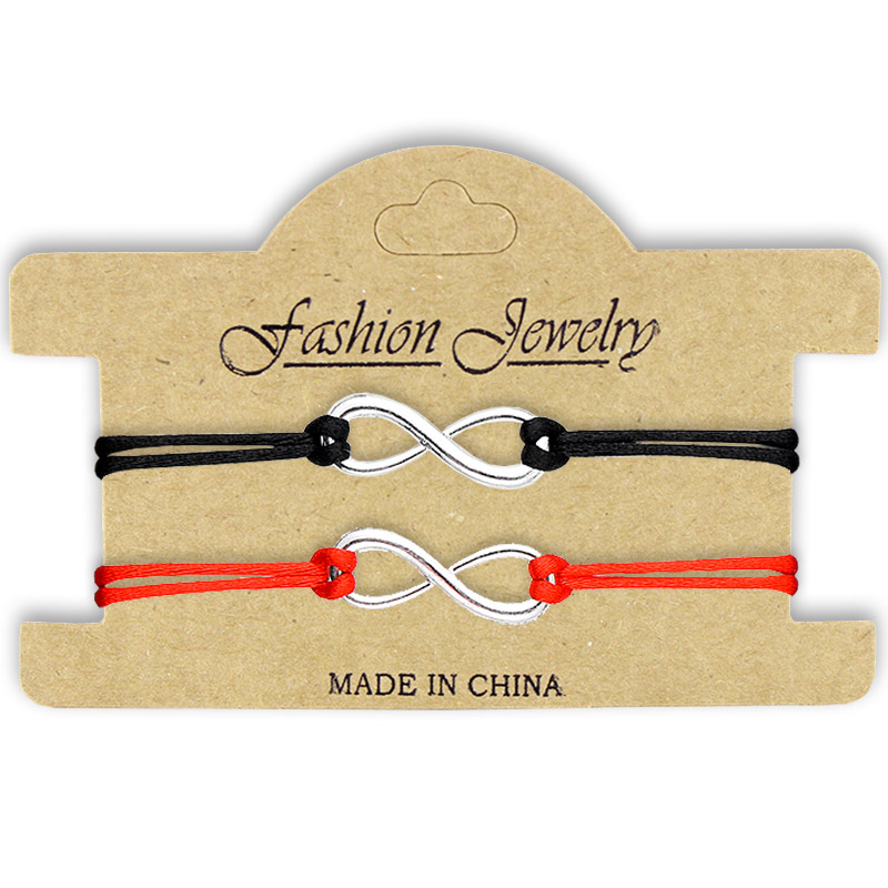 SWEBLE NEW 2Pcs/Set Together Forever Love Infinity Bracelet for Lovers Red String Couple Bracelets Jewelry Gift Adjustable(China)