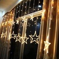 220 볼트 138 LEDs 8 모드 스타 커튼 멋진 LED 문자열 빛 2 메터 웨딩 파티 축제 정원 거실 장식 요정 빛 UC #