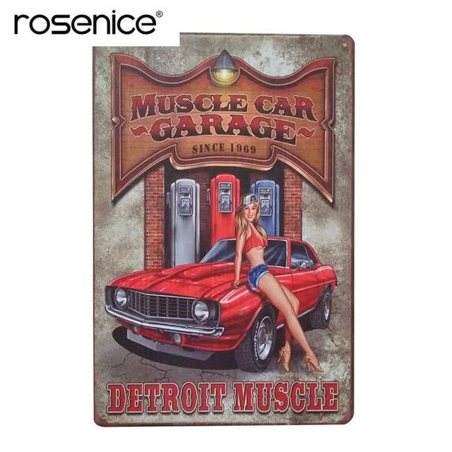Muscle Car Garage Vintage Pared Signos Decorativos Estaño Hierro