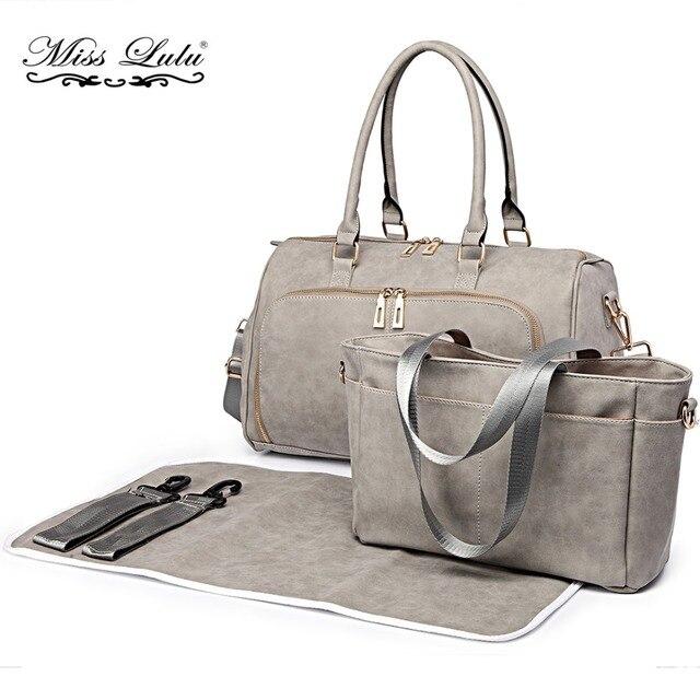 Miss Lulu 1 Set Baby Changing Bags Diaper Nappy Bags Maternity Mummy  Handbag PU Leather Tote Nursing Wet Clean Bags LT6638 b82218ae3096