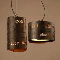 Personality Industrial Vintage Loft Style Wrought Iron Creative English Carved Pendant Light Restaurant Cafe Light Free
