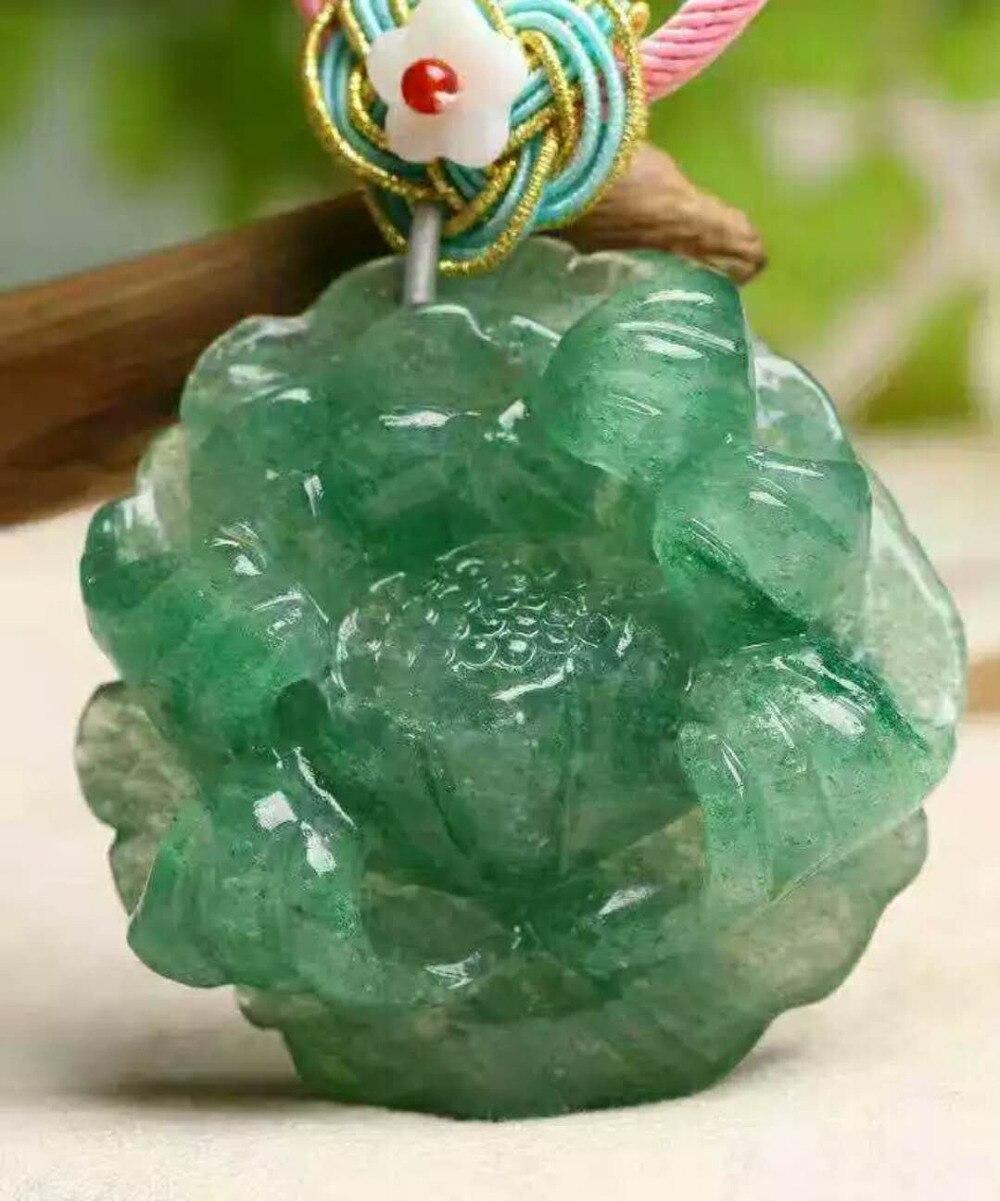 Подлинная натуральный зеленый клубника кварц Скульптура цветок Форма Для женщин Цепочки и ожерелья подвеска