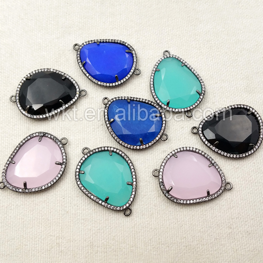 WT C180 Wholesale High Quality Crystal Micro Pave Disc Connector for Bracelets Unique design 20 25mm