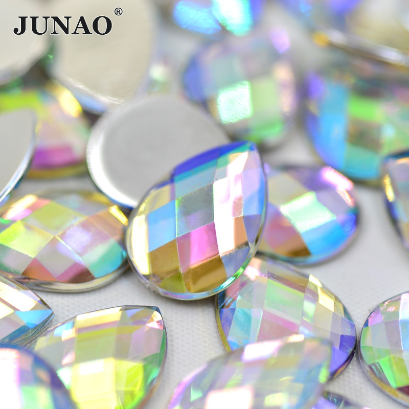 JUNAO 8*13mm 18*25mm Drop Shape Crystal AB Rhinestone Flatback Glue On Acrylic Crystal Stones Non Sewing Scrapbook Beads for DIY