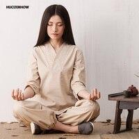 HUCOINHOW 3color High Grade Female Autumn Pure Cotton Lay Meditation Clothes Outfit Yoga Suits Women Uniforms Clothing Yoga Set