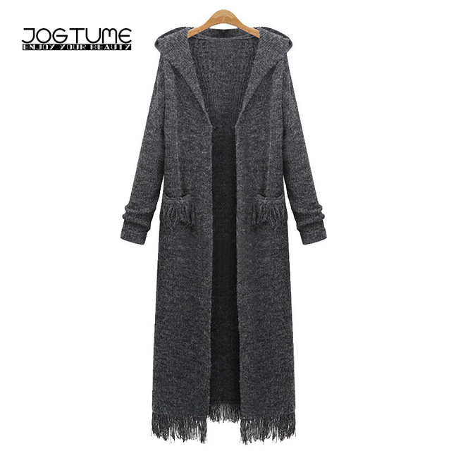 6c186e4715aaf6 JOGTUME Long Knitted Cardigan Sweater 2017 Autumn Winter Women Hooded  Sweater Coat Ladies Fashion Tassel Loose Coat Plus XL-5XL