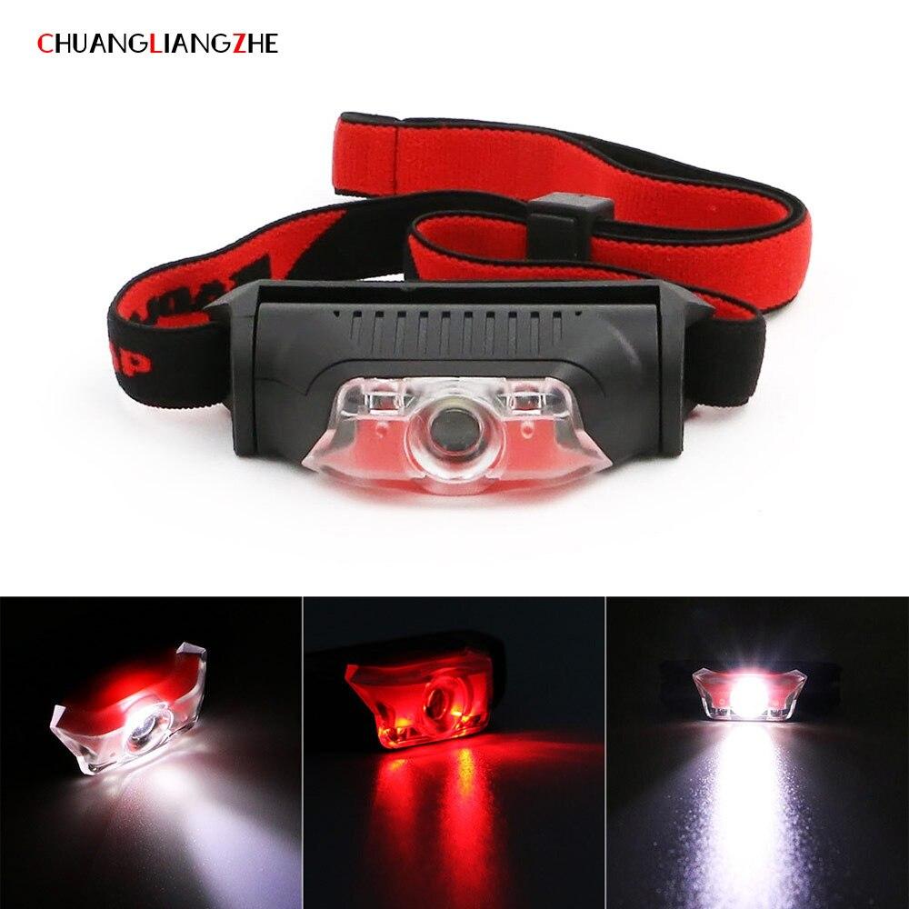 CHUANGLIANGZHE LED Mini Headlight COB Strong Light Headlight AA Battery Outdoor Waterproof Flashlight Head Camping Headlamps