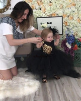 Real Picture Black Toddler Flower Girl Dresses Gold Sequined Flower Tutu Dress 1st Birthday Prom Party Outfit with train