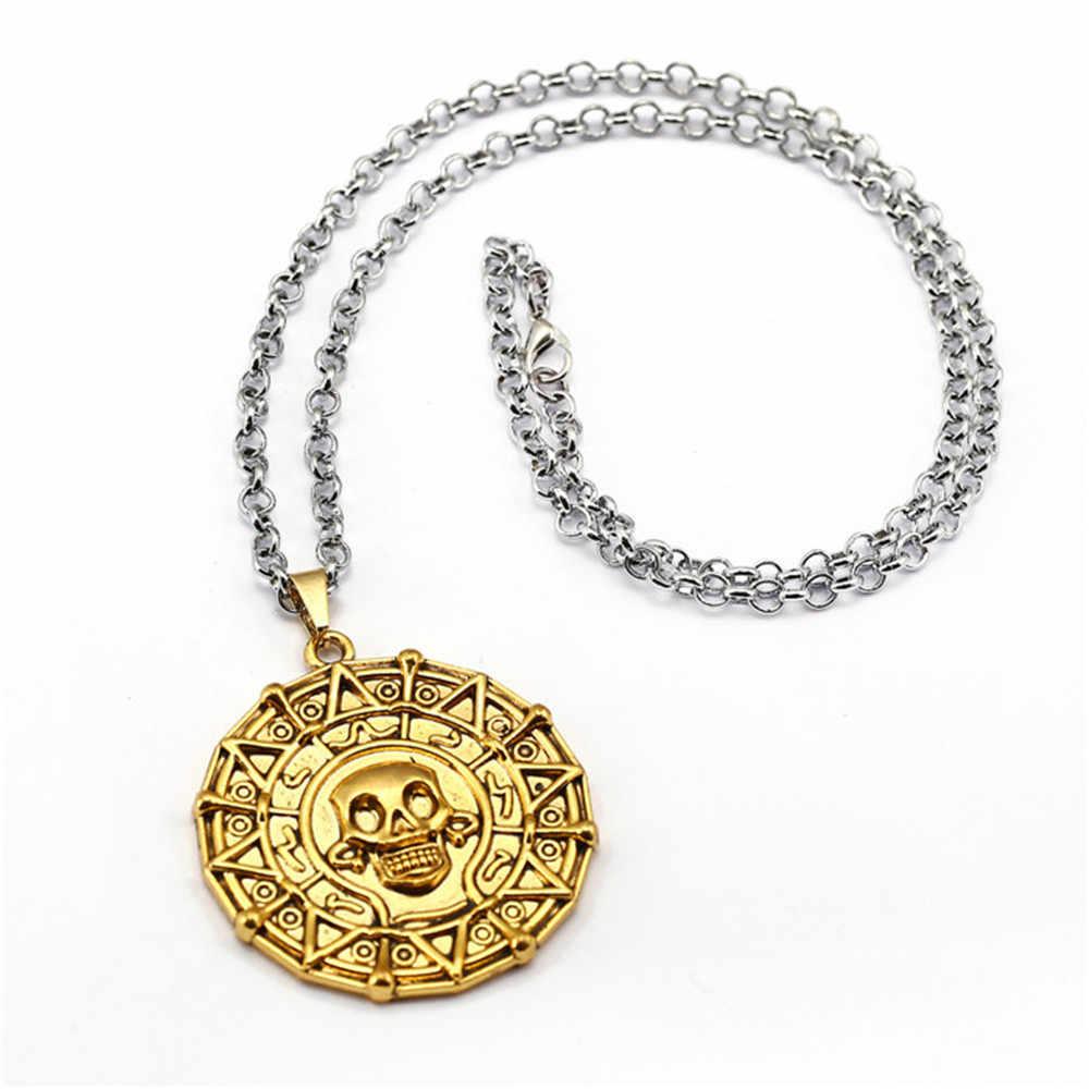 เหรียญทองโจรสลัดในทะเลแคริบเบียนสร้อยคอโซ่โลหะC Hokerสร้อยคอและจี้สำหรับผู้หญิงผู้ชายของขวัญColarเครื่องประดับKolye 10969