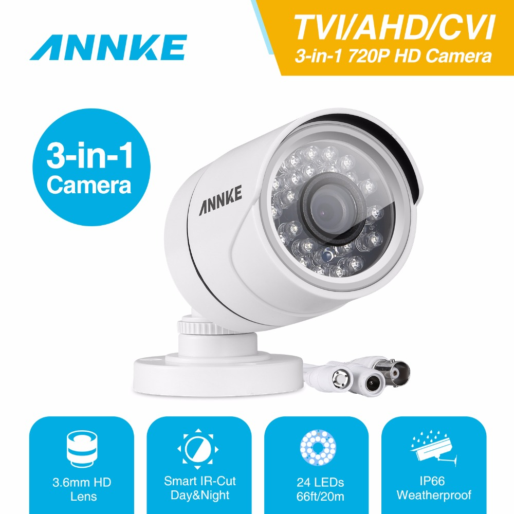 ANNKE 3 IN 1 1280*720P 1.0MP AHD TVI CVI HD Bullet Camera IR Outdoor Security Waterproof Night Vision P2P IP Cam IR Cut Filter hd cvi array ir outdoor bullet security camera 6mm lens 1 0 mp night vision