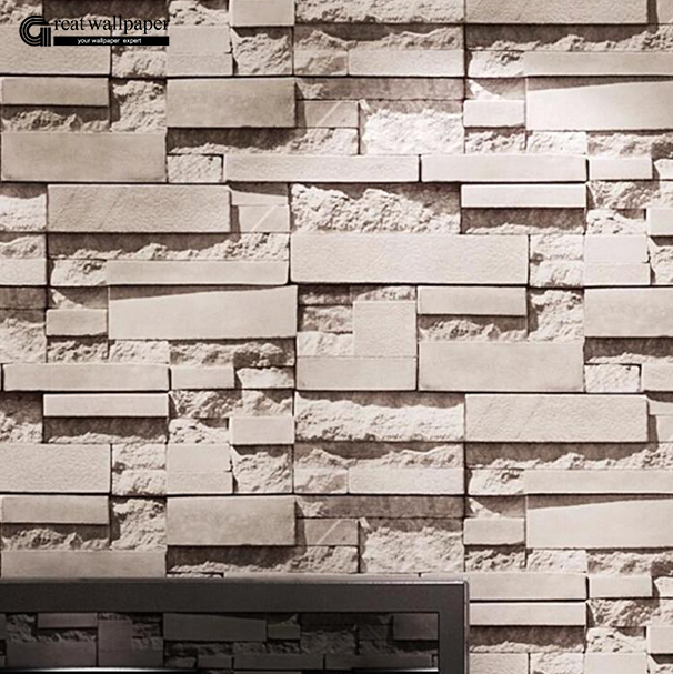 Comprar gran pared de fondo de pared de ladrillo gris papel tapiz para sala de - Papel pared ladrillo ...