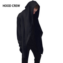 Plus Size XXXXXL Fashion 2017 Hoodcrew Brand Mens Casual Cotton Hoody Black Hoodies and Sweatshirts Homme High Streetwear H01