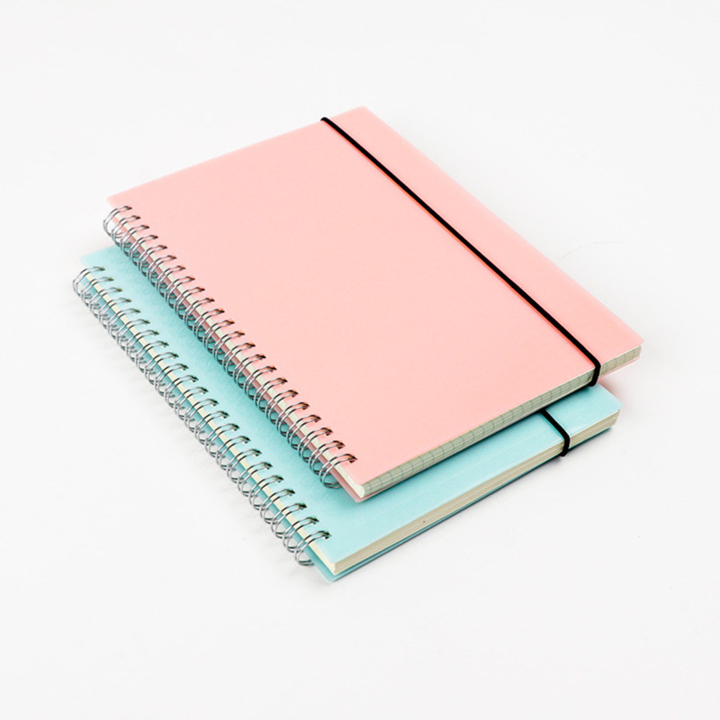 Korean A5 Coil Notebook Colored Craft Cover Spiral Composition Notepad Dot Grid Blank Line for Accounts Recording Daily Memos