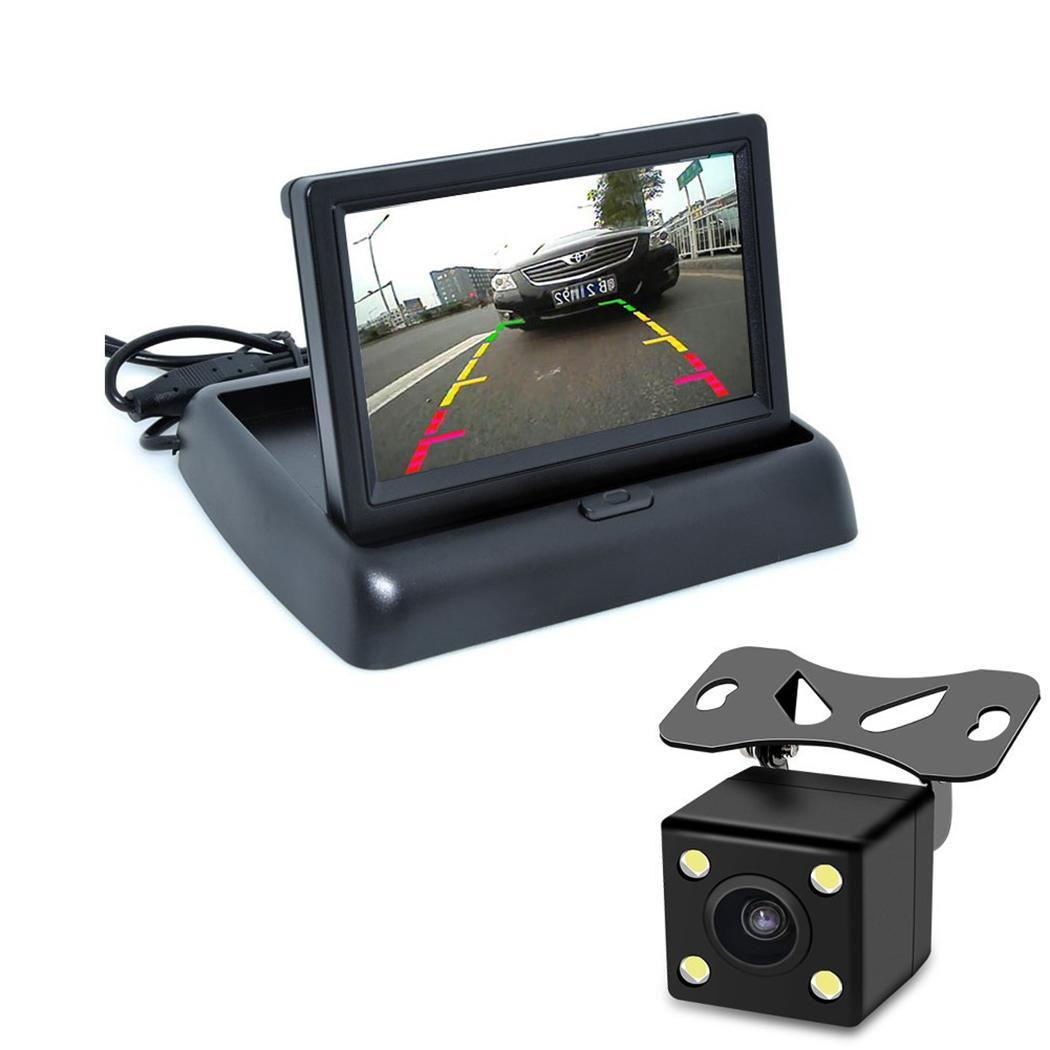 Foldable 4.3 Inch Color LCD TFT Car Rear Black View 800x480 Monitor Reversing Display Screen(China)