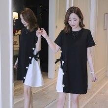 Новое платье для беременных в Корейском стиле; летнее свободное платье для беременных; модная юбка для беременных