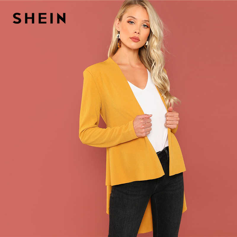 7e087e8572 ... SHEIN Ginger Office Lady Elegant Asymmetrical Hem V neck Belted Solid  Coat 2018 Autumn Workwear Fashion ...
