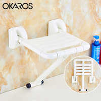 OKAROS White Yellow Wall Chair With Leg Folding Wall Mounted Shower Seats Bench Shower Seat Bathroom Folding Toilet Shower Chair