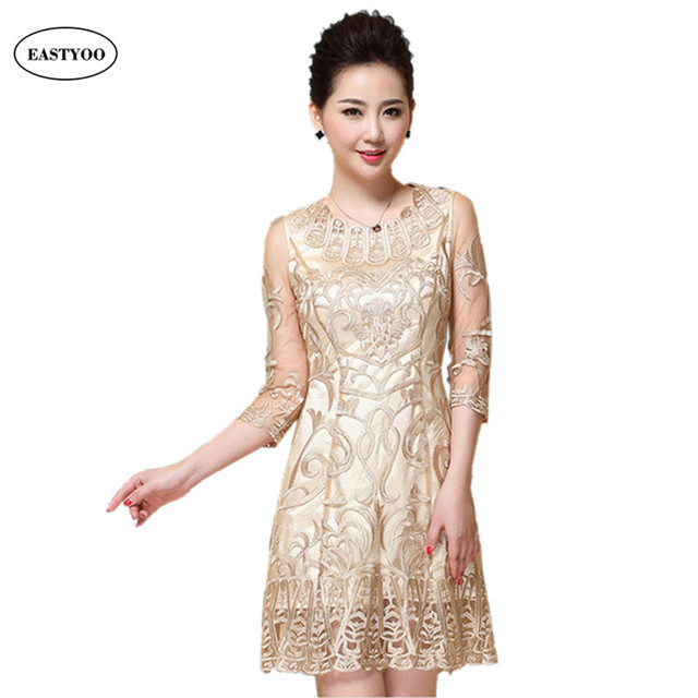 Summer Lace Dress Women Plus Size 5xl Embroidery Dress Wave Collar