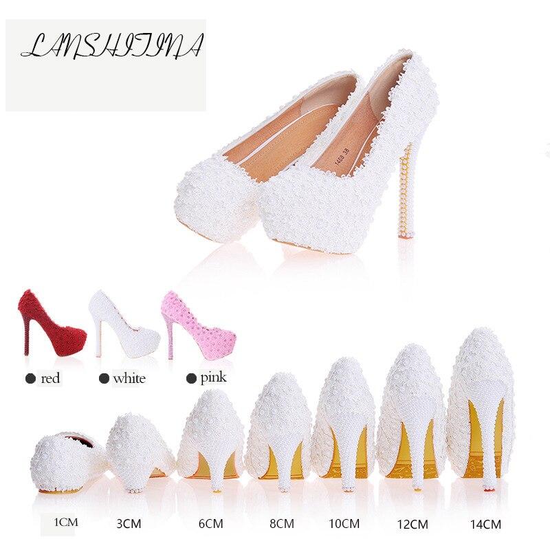 цена на New Brand Pumps Women Fashion Sweet White Flower Lace Platform High Heels Pearls Decoration Wedding Shoes Bride Dress Shoes Lady