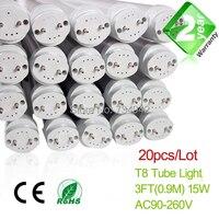 20pcs Lot 3ft T8 LED Fluorescent Tube Light 900mm 15W 1350LM CE RoHs 2 Year Warranty