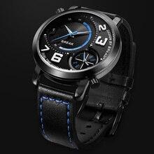 Break Nouveau Top Hommes de Luxe Sport Style De Mode Dual Time Zone Quartz Montres-bracelets En Cuir Bande Étanche Montres Pour Garçon