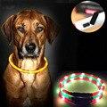 Coleira de cachorro Levou Luzes USB Ajustável Collar luminosa Led Dog USB carregamento pet fornecimentos cão de Pelúcia Levou Luz coleiras para cães de grande porte
