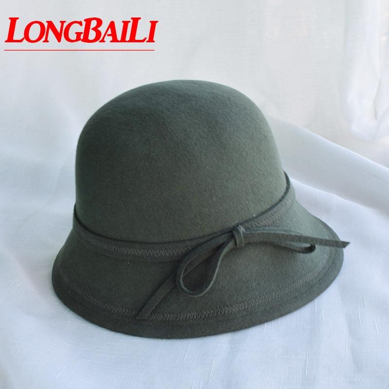 3c4f6766492 Winter Army Green Wool Felt Fedora Hats For Women Ladies Cloche Hats Female  Chapeau Free Shipping