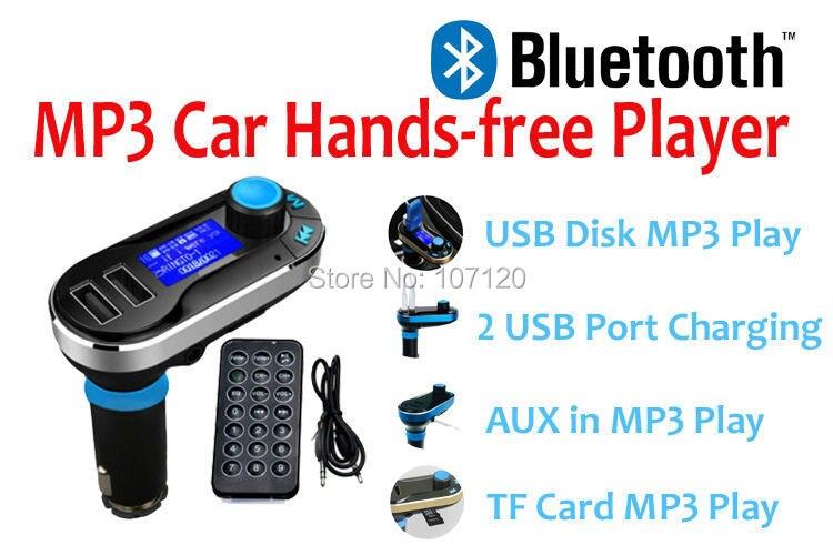 2015 New High Quality Bluetooth MP3 Car Player FM Transmitter Hands free Dual USB Port Charging Wireless Car Car Kit