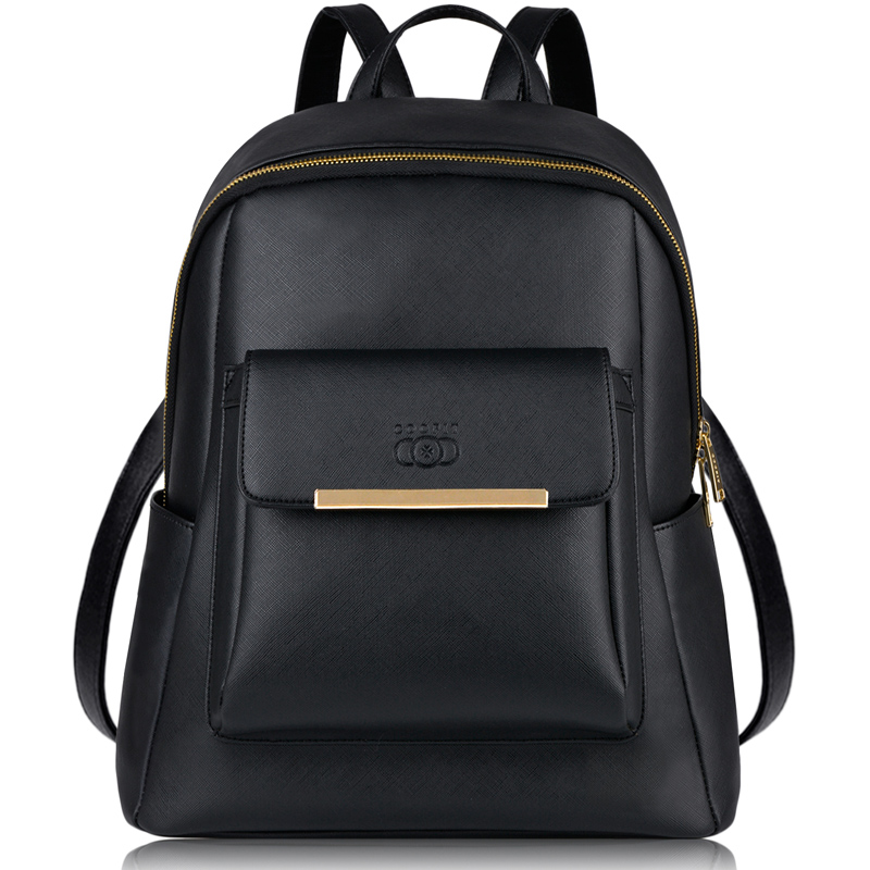 Coofit Brand Designer Ladies Female Backpack with Adjustable Straps Metal Embossing PU Leather Bagpack For Girls Teens Youth