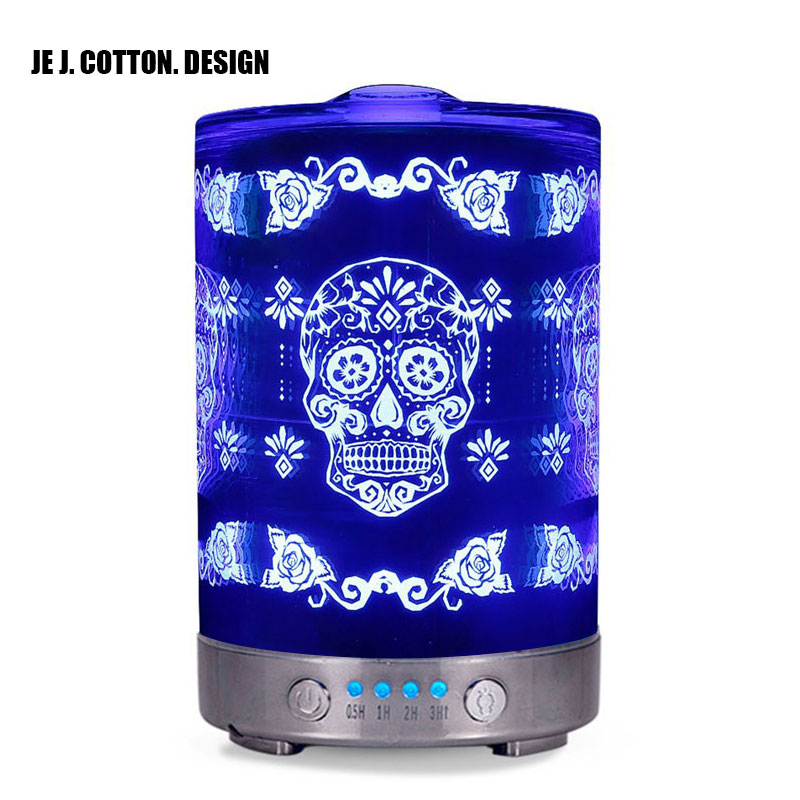 Skull 3D Ultrasonic Humidifier Aromatherapy Air Humidifier Fogger LED Night Light for Home Aroma Essential Oil Diffuser 100-240V mini ultrasonic air humidifier multi fog volume usb aroma essential aromatherapy color led night light home humidifier