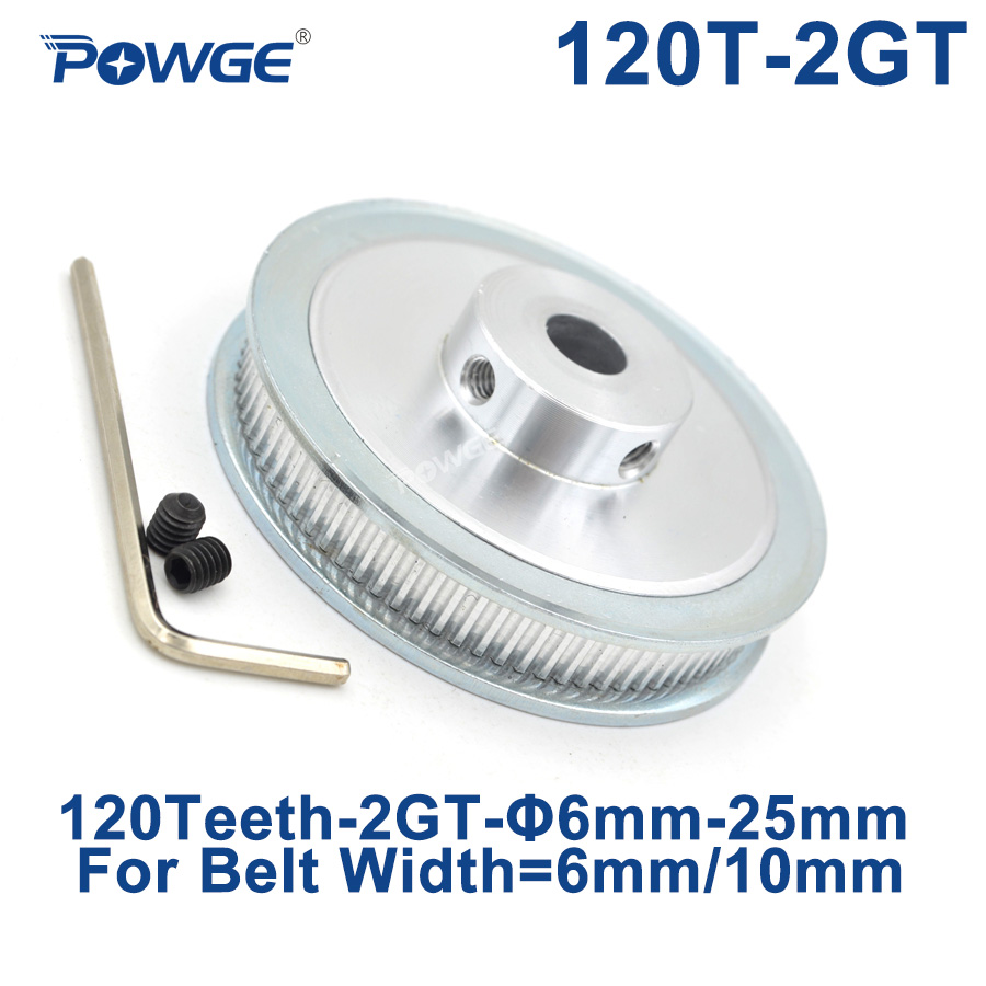 POWGE 120 Teeth 2GT Timing Pulley Bore 6/6.35/8/10/12/14/15/16/19/20/22/25mm for GT2 Synchronous belt width 6/10mm 120Teeth 120T|Pulleys|   - title=