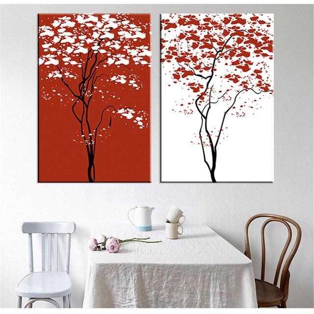 sans cadre arbre toile peinture peinture abstraite rouge et blanc art imprimer sur toile affiche. Black Bedroom Furniture Sets. Home Design Ideas