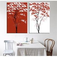 Unframed Boom Canvas Abstract Schilderij Rood en Wit Kunst Canvas Poster Woondecoratie Unieke Modulaire 2 Stuks