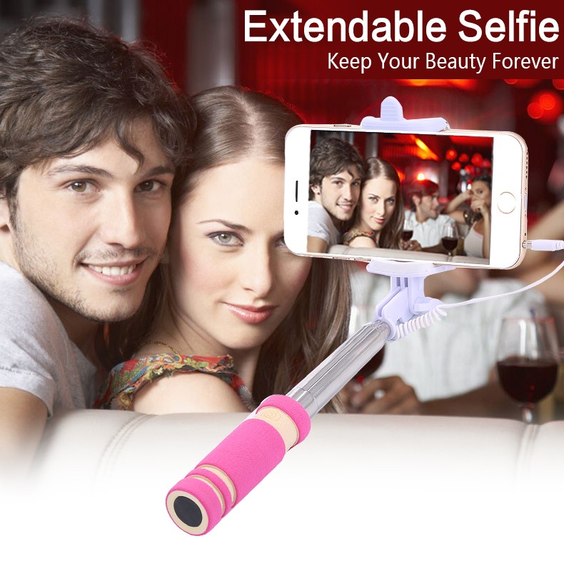 portable mini folding cell mobile phone wired self selfie sticks handheld mon. Black Bedroom Furniture Sets. Home Design Ideas
