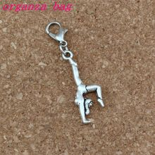 100Pcs/lots Antique silver Gymnastics Gymnast sporter Charms Bead with Lobster clasp Fit Charm Bracelet DIY Jewelry 11x44mm