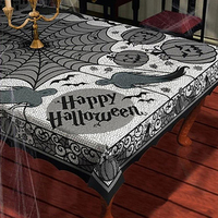 150 210CM Halloween Spider Web Tablecloth Lace Black Table Cover For Party Halloween Decoration