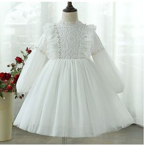 Image 4 - Girl Dress 2020 Spring Lantern Sleeve Kids Princess Birthday Party Dress Children Clothes with Pearls 4 12Y