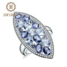 宝石のバレエ天然スカイブルートパーズ神秘の水晶のアイオライトラウンドルースビーズブルーリングリアル 925 スターリング シルバーのための女性の結婚式の婚約