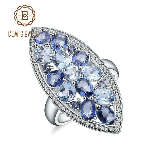 Gems Ballet Natural Sky Blue Topaz Mystic Quartz Iolite Blue Rings Real 925 sterling silver For Women Wedding Engagement Ring