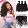 kinky cur hair bundles with frontal closure 3/4 bundles cheap ear to ear lace frontal closure with bundles with bleached knots
